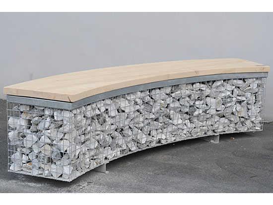 Mobiliario urbano sostenible acero galvanizado y piedra - Bancos de cemento ...