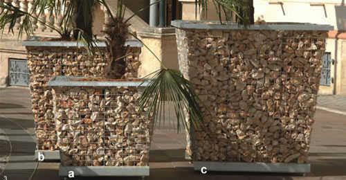 Mobiliario urbano con piedra decorativa banco gaviones for Mobiliario urbano contemporaneo