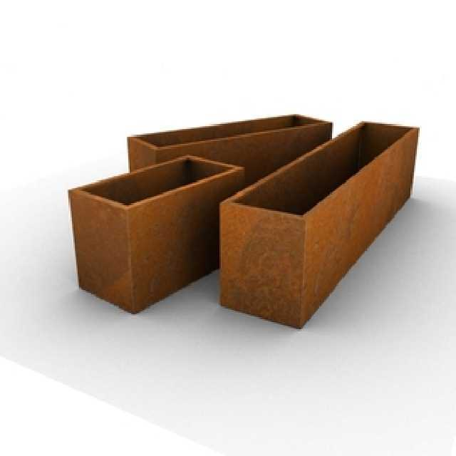 Mobiliario de acero corten dise o acero oxidado acero - Jardineras acero corten ...