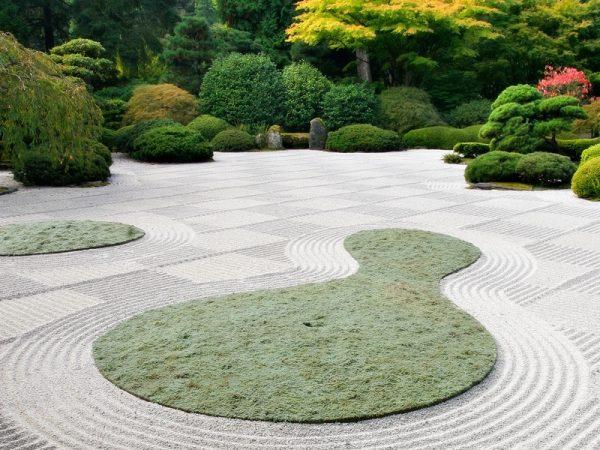 Jardin minimalista, gravilla blanca y un rastrillo