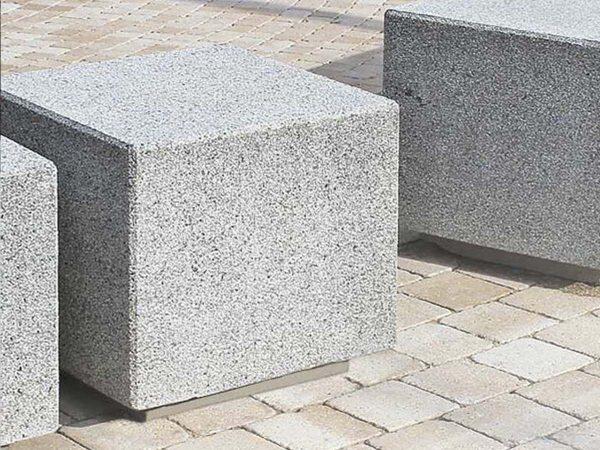 Granite cube-shaped bollard
