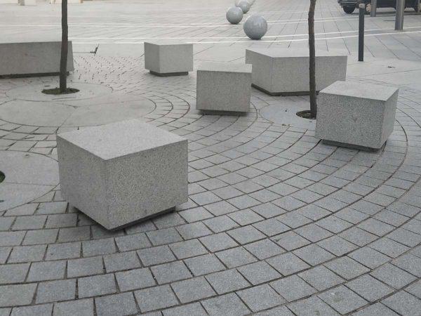 Granite bench area in pedestrian zone