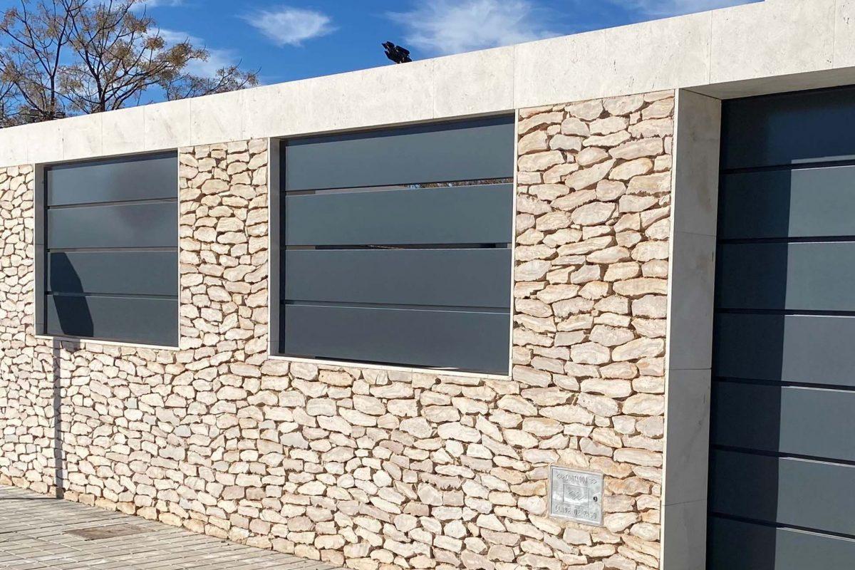 Facade exterior wall with masonry cladding