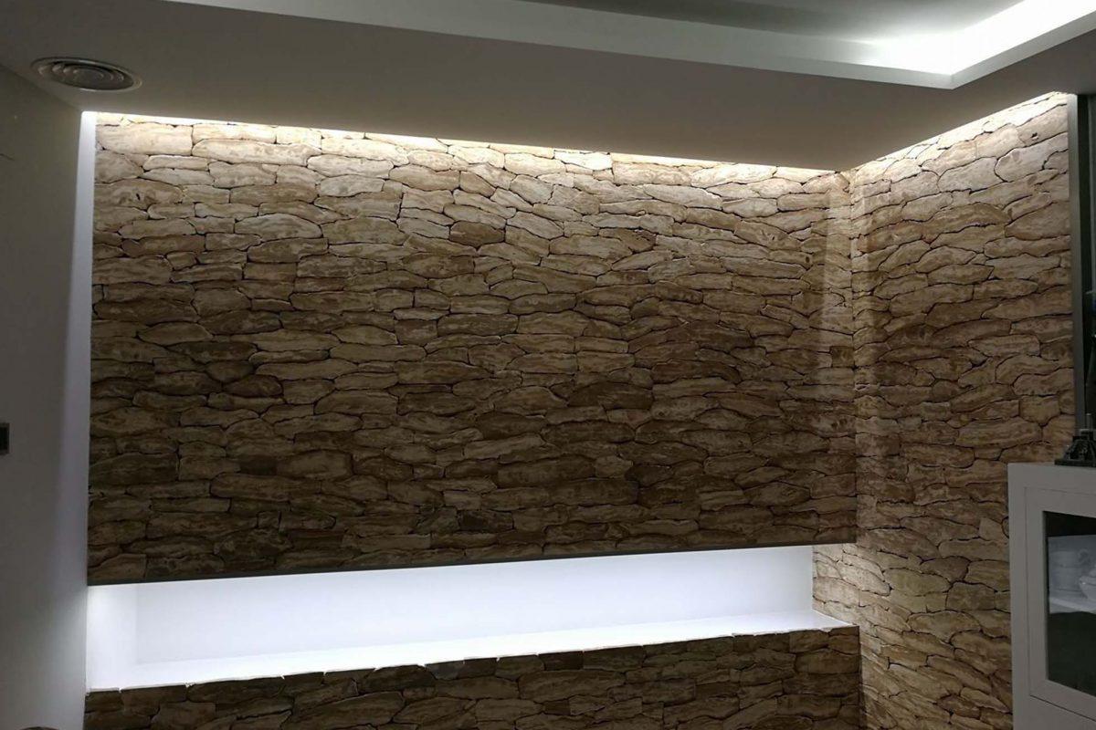Interior wall with masonry cladding
