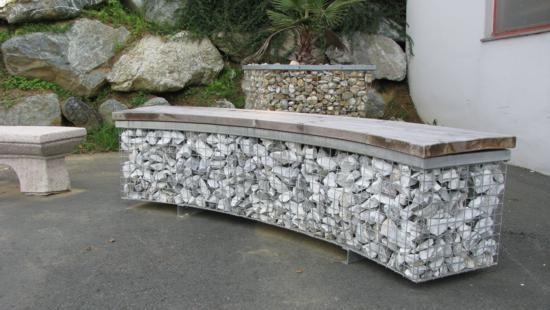 Banco de malla gavion de piedra