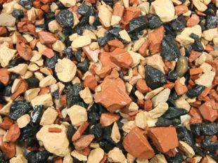 Tricolor crushed brick, (red, black and white decorative arid)